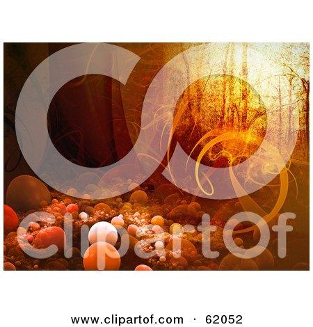 Royalty-free (RF) Clipart Illustration of an Orange Grunge Fantasy Woods Background - Version 2 by chrisroll