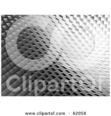 Royalty-free (RF) Clipart Illustration of a 3d Silver Curving Tiled Background by chrisroll
