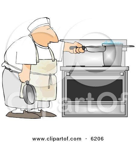 Short Order Cook Heating Food On a Stove Clipart Picture by djart