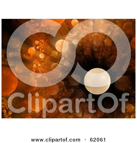 Royalty-free (RF) Clipart Illustration of an Orange Planet Explosion Background by chrisroll