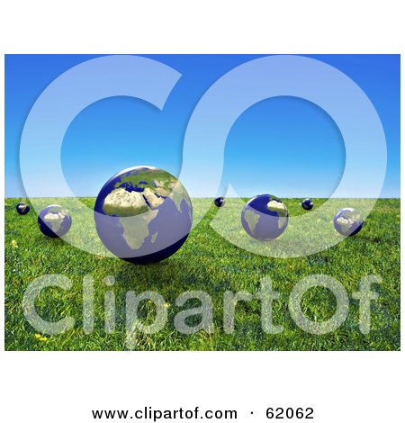 Royalty-free (RF) Clipart Illustration of a 3d Grassy Meadow With Floating Globes Under A Blue Sky by chrisroll