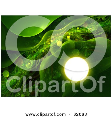 Royalty-free (RF) Clipart Illustration of a Green Futuristic Background With Transparent Plasma And Glowing Orbs by chrisroll