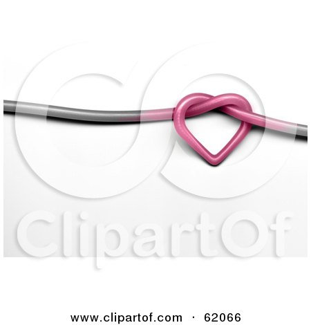 Royalty-free (RF) Clipart Illustration of a 3d Pink Heart Knot In A Gray Wire by chrisroll
