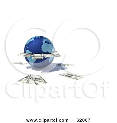 Royalty-free (RF) Clipart Illustration of a 3d Blue Globe ATM Spitting Out Cash by chrisroll