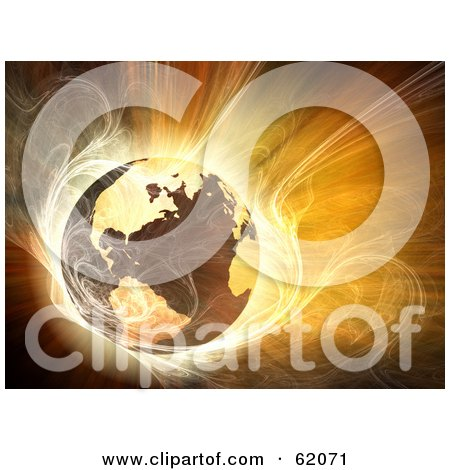 Royalty-free (RF) Clipart Illustration of a Hot 3d Globe Surrounded By Bright Fractal Light by chrisroll