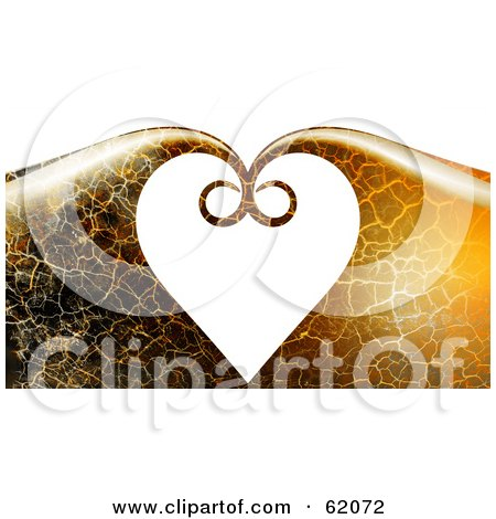 Royalty-free (RF) Clipart Illustration of a Background Of Crackled Waves Curling Together And Forming A Heart by chrisroll