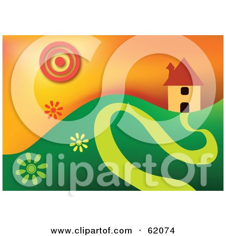 Royalty-free (RF) Clipart Illustration of a Home On A Green Hill With A Windy Driveway, Under A Summer Sun by chrisroll