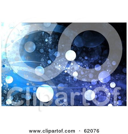 Royalty-free (RF) Clipart Illustration of a Blue Background Of Waves And Grungy Glowing Bubbles by chrisroll