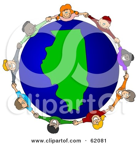 Royalty-Free (RF) Clipart Illustration of a Circle Of Children Holding Hands Around An Illinois Globe by djart