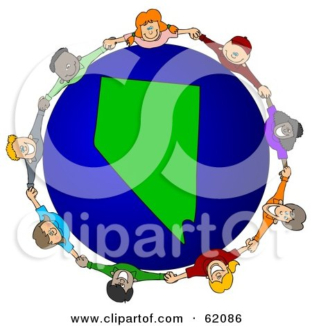 Royalty-Free (RF) Clipart Illustration of a Circle Of Children Holding Hands Around A Nevada Globe by djart