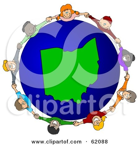 Royalty-Free (RF) Clipart Illustration of a Circle Of Children Holding Hands Around An Ohio Globe by djart