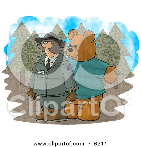 Person Wearing a Bear Costume While Trying to Scare a Female Forest Ranger Clipart Picture by djart