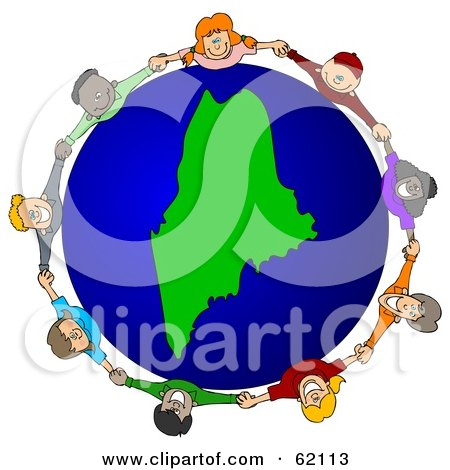 Royalty-Free (RF) Clipart Illustration of a Circle Of Children Holding Hands Around A Maine Globe by djart