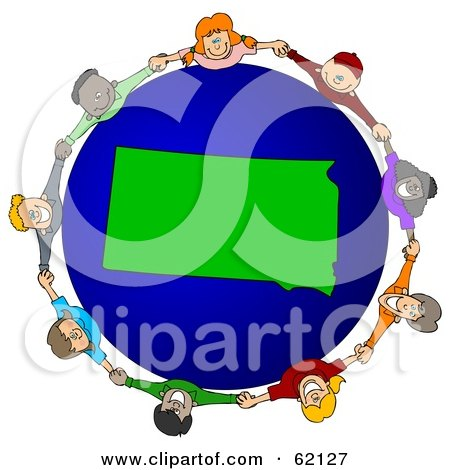 Royalty-Free (RF) Clipart Illustration of a Circle Of Children Holding Hands Around A South Dakota Globe by djart