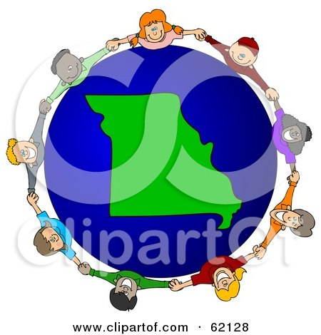 Royalty-Free (RF) Clipart Illustration of a Circle Of Children Holding Hands Around A Missouri Globe by djart