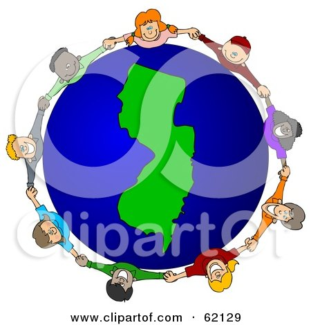 Royalty-Free (RF) Clipart Illustration of a Circle Of Children Holding Hands Around A New Jersey Globe by djart