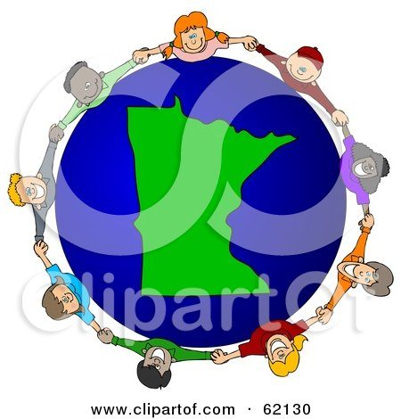 Royalty-Free (RF) Clipart Illustration of a Circle Of Children Holding Hands Around A Minnesota Globe by djart