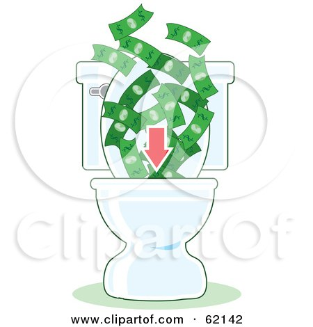 Royalty-Free (RF) Clipart Illustration of a Red Arrow Directing Money Down A Toilet by Maria Bell