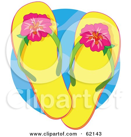 734ec527032b0c Clipart Illustration of a Pair Of Summer Thong Flip Flop Sandals With Palm  Tree Designs by LoopyLand  36383
