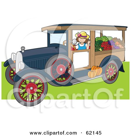 Royalty-Free (RF) Clipart Illustration of a Friendly Woman Driving An Antique Truck With Produce by Maria Bell