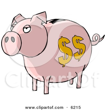 Pink Piggy Bank with Dollar Signs Clipart Picture by djart