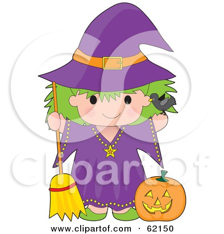 Royalty-Free (RF) Clipart Illustration of a Cute Green Haired Trick Or Treating Witch Girl With A Pumpkin And Broom by Maria Bell