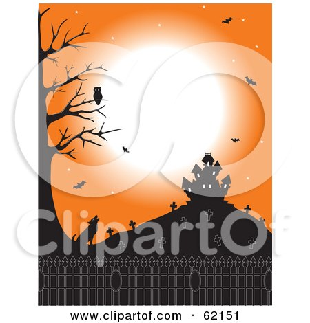 Royalty-Free (RF) Clipart Illustration of an Owl Over A Howling Coyote Under An Orange Sky With A Cemetery, Bats And Haunted House by Maria Bell