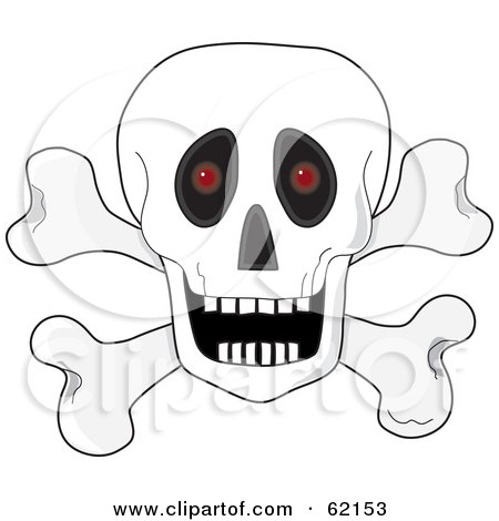 Royalty-Free (RF) Clipart Illustration of a White Human Skull Over Crossbones, With An Open Mouth And Red Glowing Eyes by Maria Bell