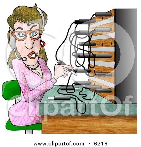 Female Telephone Operator Adjusting Lines Posters, Art Prints