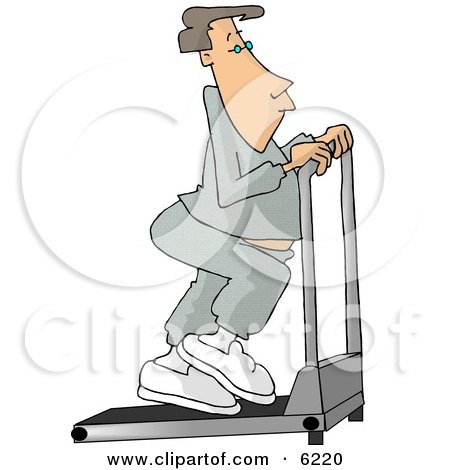 Man in Sweats Exercising on a Treadmill in a Gym Clipart Picture by djart