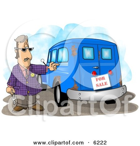 Car Salesman Trying to Sell an Old Rusty Vehicle Clipart Picture by djart