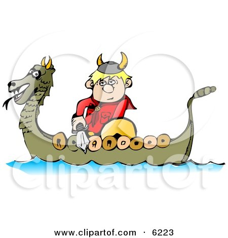 Viking Boy Traveling in a Dragon Boat While Armed with a Sword and Shield Posters, Art Prints