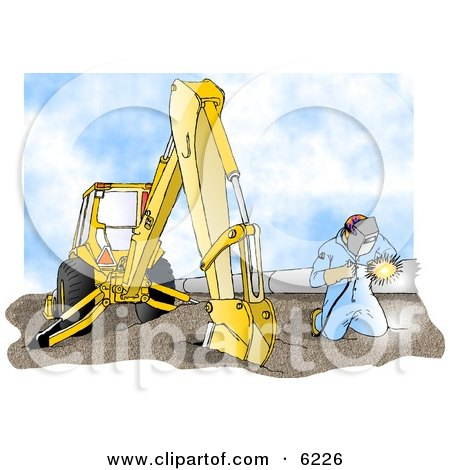 Man Welding On a Metal Pipeline Line Beside a Construction Tractor Clipart Picture by Dennis Cox