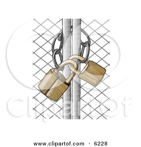 Padlocked Chain Link Fence Gate Clipart Picture by djart