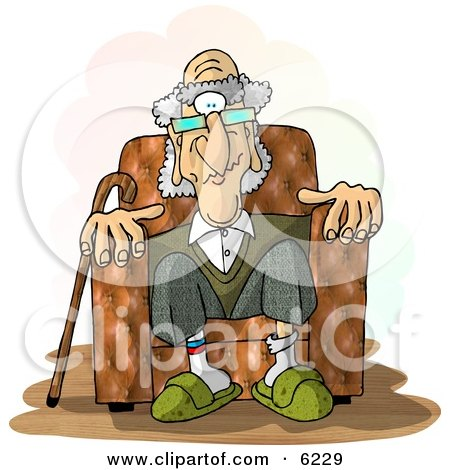 Old Man Sitting In a Recliner Chair Clipart Picture by djart