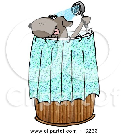 Anthropomorphic Dog Showering Clipart Picture by Dennis Cox