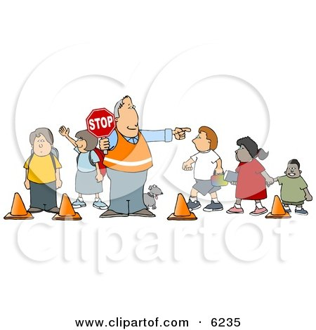 Crosswalk Crossing Guard Man With a Stop Sign, Directing School Children and a Dog to Cross the Street Clipart Picture by djart