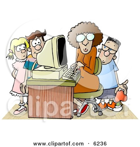 Female Teacher Sitting at a Computer, Surrounded by School Kids in a Classroom Clipart Picture by djart