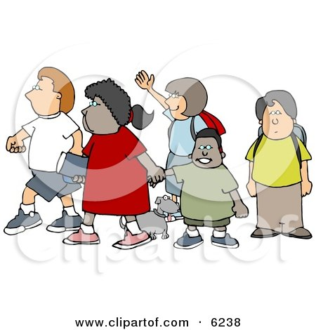 Group of School Children and a Little Dog Crossing a Street Posters, Art Prints