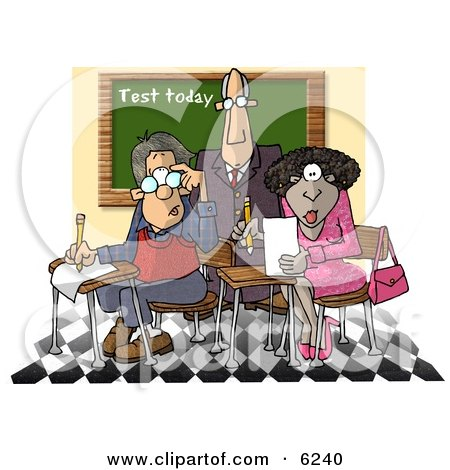 Male Teacher Standing Over Two Students in a Classroom Clipart Picture by djart