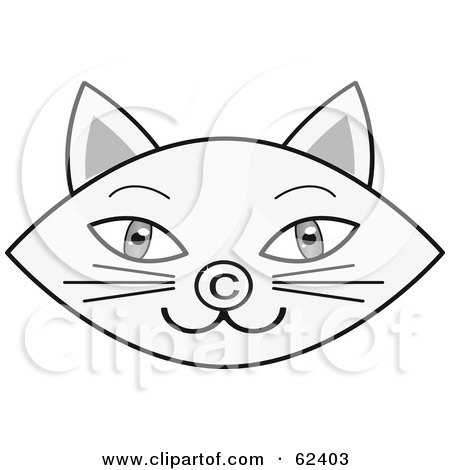 Royalty Free Rf Clipart Illustration Of A Gray Cat Face With A