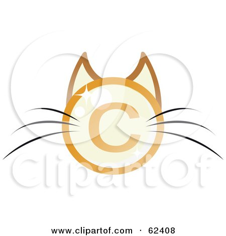 Royalty-Free (RF) Clipart Illustration of a Copyright Symbol Cat Face With Long Whiskers by Melisende Vector