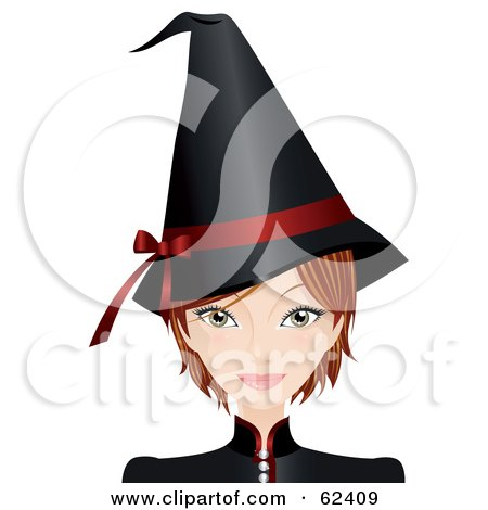 Royalty-Free (RF) Clipart Illustration of a Beautiful Young Witch In A Black Hat With A Red Ribbon by Melisende Vector