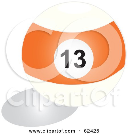 Royalty-Free (RF) Clipart Illustration of a Shiny Stripe Orange 13 Billiards Pool Ball by Pams Clipart