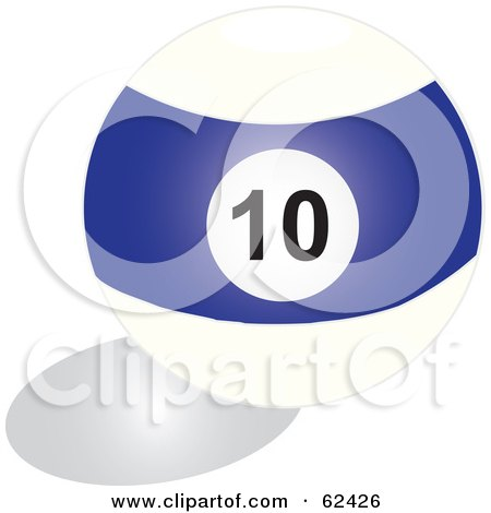 Royalty-Free (RF) Clipart Illustration of a Shiny Stripe Blue 10  Billiards Pool Ball by Pams Clipart