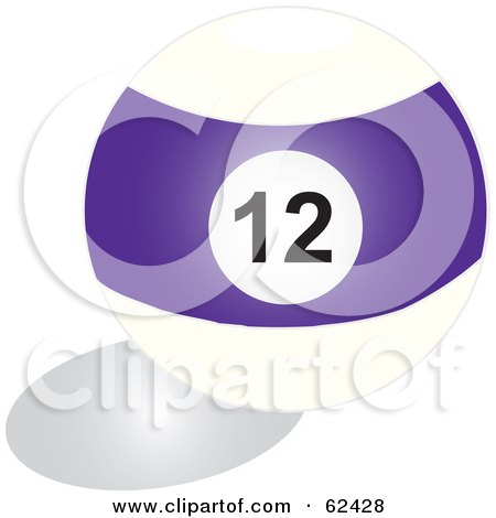 Royalty-Free (RF) Clipart Illustration of a Shiny Stripe Purple 12 Billiards Pool Ball by Pams Clipart