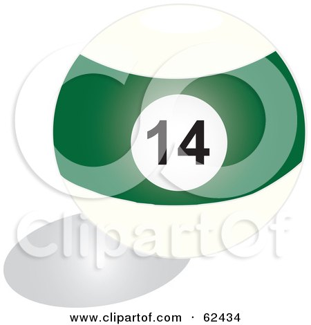 Royalty-Free (RF) Clipart Illustration of a Shiny Stripe Green 14 Billiards Pool Ball by Pams Clipart
