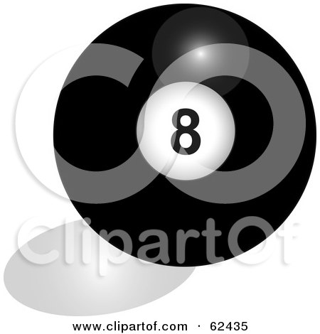 Royalty-Free (RF) Clipart Illustration of a Shiny Solid Black 8 Billiards Pool Ball by Pams Clipart