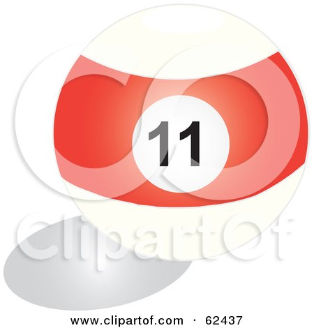 Royalty-Free (RF) Clipart Illustration of a Shiny Stripe Red 11 Billiards Pool Ball by Pams Clipart