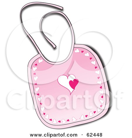 Royalty-Free (RF) Clipart Illustration of a Pink Baby Bib With Hearts by Pams Clipart